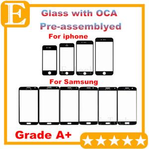 Grado A + para iPhone 4 5 6 Lente frontal de vidrio frontal con película OCA premontada para Samsung Galaxy S4 S5 Balck White 20 piezas