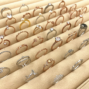 40% Kapalı Gül Altın Yüzük Yeni Kore Kuyruk Yüzük Toptan Kaliteli Gümüş Düğün Aşk Sevimli Çiçek Inci Taç Yaprak Kristal Rhinestone Band Yüzük