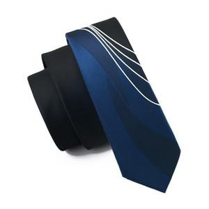 New Hot Moda Masculina empate Marca Magro Designer Woven Blue Black Stripes Gravatas Cravate Limite Skinny gravatas para que homens de alta qualidade E-244