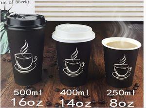 Großhandel - 500 ml biologisch abbaubare Kaffeetasse aus Papier, Einwegkaffeetasse mit Deckel und Strohhalm für Geschäfte
