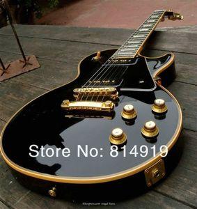 Benutzerdefinierte Begrenzte 1958 Reissue P90 Pickup Schwarze E-Gitarre Creme 5 Ply Binding Mahagoni Korpus Block-MOP Griffbrett Inlay-Gold-Hardware