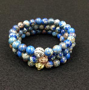 SN0446 8 мм синий морской осадок камень бусины 18 К золото розовое золото Серебряный лев голову браслет, 2016 новый дизайн высокого класса мужские ювелирные изделия