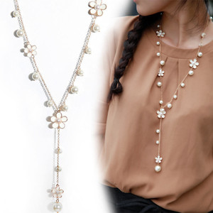 Joyería de moda de las mujeres Colgante de Cristal Gargantilla Chunky Cadena Declaración Bib Collar Suéter Cadena Flor Collares de Perlas