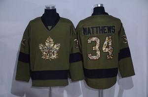 Saludo a servicio Ejército de hockey sobre hielo verde camisetas 2016 hombres 34 Auston Matthews Jersey hombres transpirable calidad envío gratuito