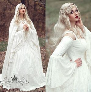 Renaissance Gothic Lace Ball Gown Wedding Dresses With Cloak Plus Size Vintage Bell Long Sleeve Celtic Medieval Princess Bridal Gown