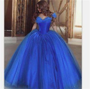 Abito da principessa Ball Gown Vintage Quinceanera Off The Shoulder Ice Blue Abiti da sera Prom Dresses Floor Length Luxury 2017 Cheap
