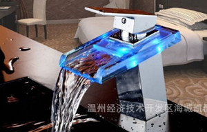 TB2020 # LED LIGHT square Glass Waterfall Bathroom Basin FAUCET chrome polished mixer vanity torneira banheiro cozinha hansgrohe