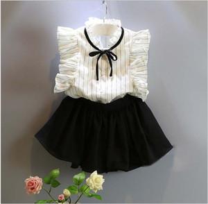 Nette Mädchen-Sommer-Kleidung stellt 2018 neue Kinder Striped Sleeveless Weste Shirt + Black Short Röcke 2pcs Kinderausstattungs-Baby-Anzüge 5set / lot ein