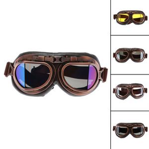 Gafas de motocicleta de motocross clásico de la vendimia Gafas de aviador retro piloto del crucero de Steampunk ATV bicicletas Protección de cobre UV