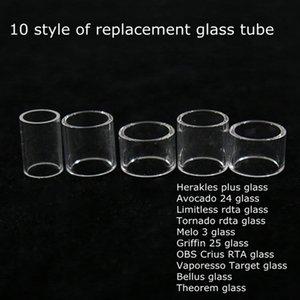 트롤 아보카도 24 Limitless RDTA 토네이도 Melo 3 그리핀 25mm RTA OBS 크리어스 대상 Bellus 정리 대체 탱크 Pyrex Glass Tube
