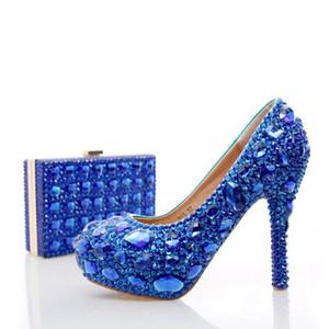 Salto de casamento azul strass com Crystal Fashion Matching Salto Alto Saco do partido com Clutch 4 polegadas sapatos de salto de noiva Lady Prom Bombas