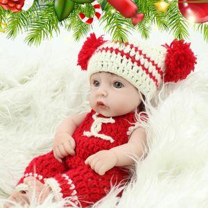 28 см Мини Rewborn детские куклы реалистичные куклы полный силиконовый корпус винил милый поддельные вязание ткани ребенка