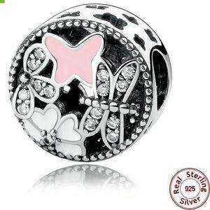 Real 100% 925 Sterling Silver Round Enamel Rhinestone Charm Bead Fit European Bracelet Authentic Luxury DIY Jewelry Gift