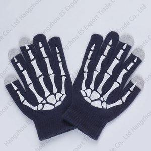 Puras Cores de Malha Mão Osso Luvas Luvas Luvas de Tela de Toque de Moda Inverno Anti-congelamento Homens E Mulheres 6 Cores Luvas Quentes