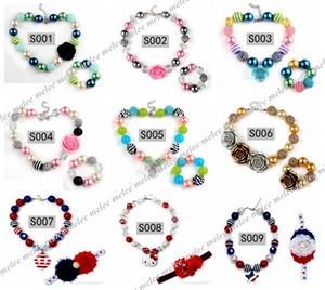 Baby Perlen Bubblegum Halskette Schmuck Kinder Bunte Perle Perlenkette + Armbänder Mädchen Party Schmuck Zubehör Über 60 stil wählen frei