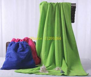 20 unids / lote 70X140 CM Microfibra de algodón Toallas de playa Monogramable Toallas de natación Funcional Saco plegable de verano Bolsa de regalos