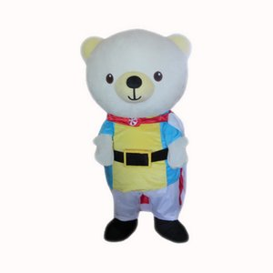 Ehite Bear Mascot Costumes Cartoon Character Adult Sz 100% Real Picture