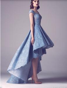 2017 Date Indien Dentelle Haut bas Bleu Court Robes De Bal Dames Long Moderne Femme Robes De Bal