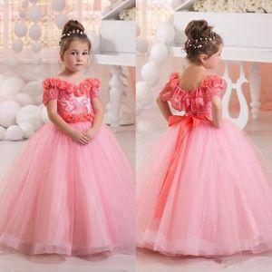 2017 New Pink Off Shoulder Flower Girls Dresses Tulle Beaded Short Sleeves Princess Bow Kids Formal Wear Toddler Girl's Pageant Dresses