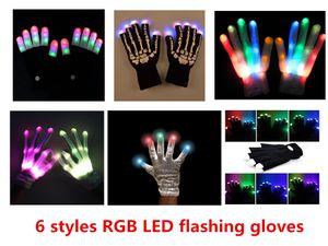6 estilos Multi-Color Electronic LED Flashing Gloves colorido led Light Up Halloween Dance Rave Party Fun