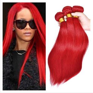 Estensioni brasiliane diritte seriche dei capelli 9A trecce vergini brasiliane delle doppie trame tessere del tessuto dei capelli del Virgin di colore rosso 3Pcs Lot