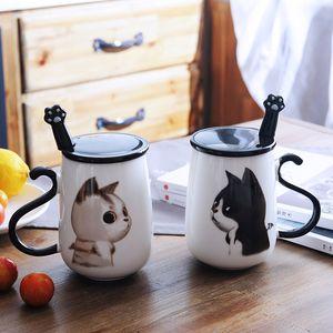 16 oz chat mignon tasse à café en céramique tasse de lait tasse à thé avec poignée couvercle et cadeau en acier inoxydable cuillère patte anniversaire DEC315