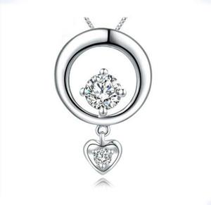 Mode Silber Schmuck 925 Sterling Silber Liebe Herz Anhänger Diamant Kreis Halskette Japan Style Fashion für Mode OL