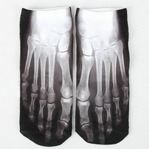Wholesale-3D Printed Socks Unisex Cute Low Cut Ankle Socks Animal Skeleton Feet Cotton sock Casual Charactor Socks for Women Men