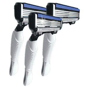 3 pcs lot High Quality Shaving 4-Blades Men's Shaving Razor Blades with Handle for Men Shaver Blades Sharpener Free Shipping