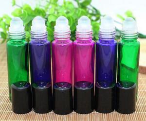 Roll-on Glasflaschen, 10ml Leere Aromatherapie ätherische Öle, Parfüm-Flaschen, Mehrwegflaschen mit Glaskugel und schwarzem Kunststoff Deckel