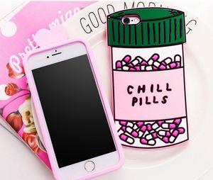 3D Soft Chill Pills Love Potions Funda de silicona Teléfono cubierta de silicona para iphone 7 5 se 6 6s más S7 nota 4