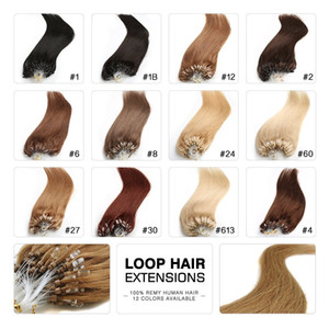 """Micro Loop Remy Extensiones de cabello 18 """"20"""" 22 """"24"""" Indian Virgin Hair Keratin Straight 100g / lot 1g / strand 13 colores"""