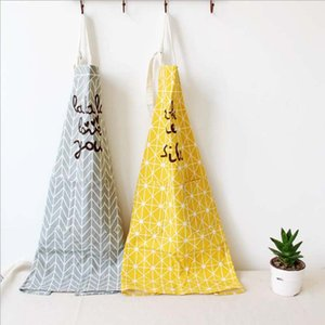 2017 Top Fashion New 100% Cotton Kitchen Apron Printed Unisex Western Cooking Aprons Dining Room Barbecue Restaurant Pocket Lett