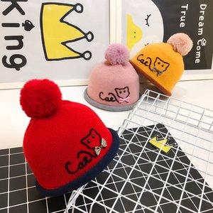 Chapéus do bebê Poms 6 Cores Knit Hat Meninas Meninos Beanie Inverno Criança Crianças Menino Da Menina Faux Crochet Cap Quente 3 M-2 anos de Crianças