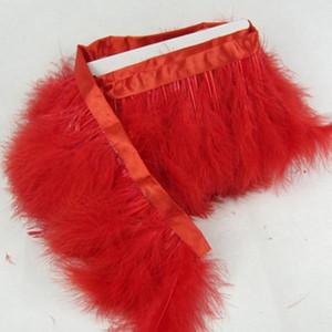Kırmızı Marabou Tüy Kesme Tüy saçaklar 2Yards Marabou Tüyler Şerit Trim Fringe Marabou Tüy Noel Dekorasyon Şeritler