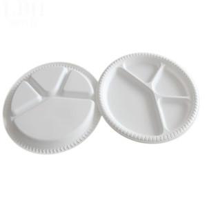 28 Cm Çap 4 Parça Tek Plakalı Çevreye Duyarlı Degrade Bulaşık BARBEKÜ Gıda Tepsiler Meyve Salatası Kase Sofra Tek Kullanımlık Yemekleri Beyaz Tepsiler