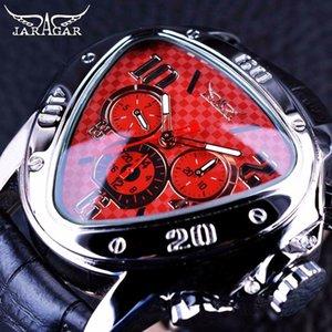 JARAGAR 2018 Sport Racing Design géométrique Design Triangle Montres bracelet en cuir véritable des hommes Top Marque de luxe montre-bracelet automatique