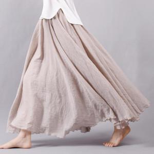 2016 패션 브랜드 여성 리넨 코튼 롱 스커트 신축성 허리 플라이 맥시 스커트 비치 Boho Vintage Summer Skirts Faldas Saia