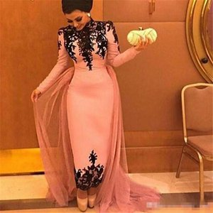 Vintage High Neck Evening Dress with long sleeves black lace appliques prom dress ankle length formal gown For Arabic Women Cheap Custom