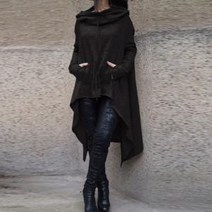 2017 Nueva Preself de gran tamaño con capucha ocasional de las mujeres Outwear con capucha de manga larga floja del manto con capucha de la cubierta Pullover Ropa