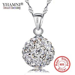 YHAMNI Original Fine Jewelry 100% Silver Full CZ Diamant Colgante Collar Collar de Cristal para Las Mujeres Collar Colgante de Plata BKN005