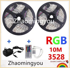 RGB LED Light Strip 10M 3528 SMD 300 LED bande flexible Light Set avec télécommande et 44Keys DC 12V Adaptateur d'alimentation