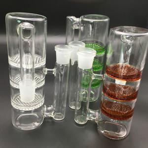 Capteurs de cendres 18mm Double Ambre couleur miel peigne Percolateur 14mm capteurs de cendres avec 18.8 mm commune pour verre Bongs et tuyaux
