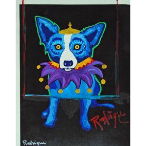 Mano Alta Calidad pintura al óleo arte en lona grande de múltiples tamaños enormes George Rodrigue Blue Dog