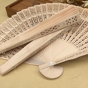 Free shipping in bulk 100pcs lot personalized wood wedding favours fan party giveaways sandalwood folding hand fans