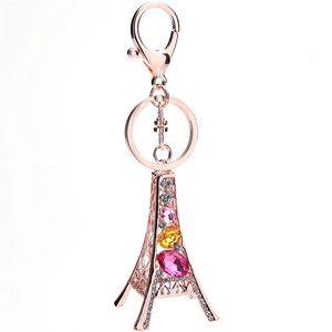 برج تور إيفل سلسلة المفاتيح للمفاتيح التذكارية باريس تور إيفل حجر الراين سلسلة المفاتيح كريستال مفتاح سلسلة مفتاح الطوق الديكور حائز المفتاح