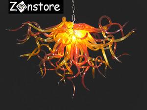 Orange Love Chandelier - Kleine hängende Kette Kronleuchter Murano Art Glass LED dekorative Kristallleuchter und Pendelleuchten