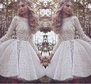 Long Sleeves Homecoming Kleider Alle White Lace Applique Prom Kleider Short Back Zipper Tiered Ruffle Nach Maß Formal Occasion Party Dress