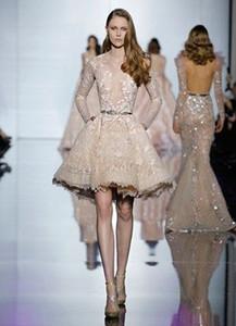 Apliques de encaje Tul mangas largas Champaña marfil Faja corta / mini Elie Saab Prom vestidos de graduación cócteles Vestidos de noche Fiesta de invitados