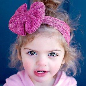 Neue Mädchen Stirnbänder Big Bows Kinder Kinder Haarschmuck Bowknot Haarbänder Elastic Solid Silver Wire Breite Stirnbänder 10 Farben KHA513